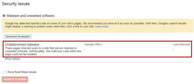 El malware de software no deseado de búsqueda de Google consola Advertencia