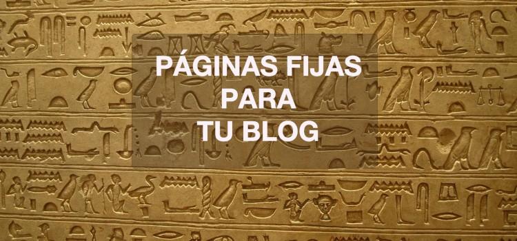 Páginas fijas para tu blog