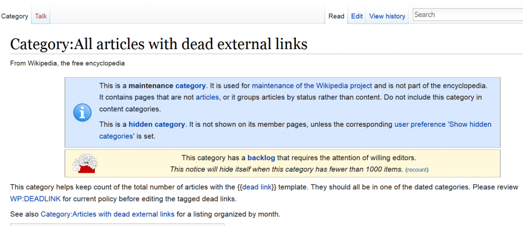 wikipedia-dead-links-page