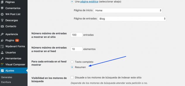 Mostrar texto completo o resumen en wordpress