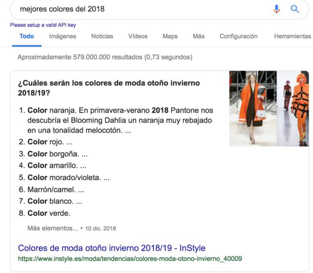 Ejemplo de resultado de búsqueda